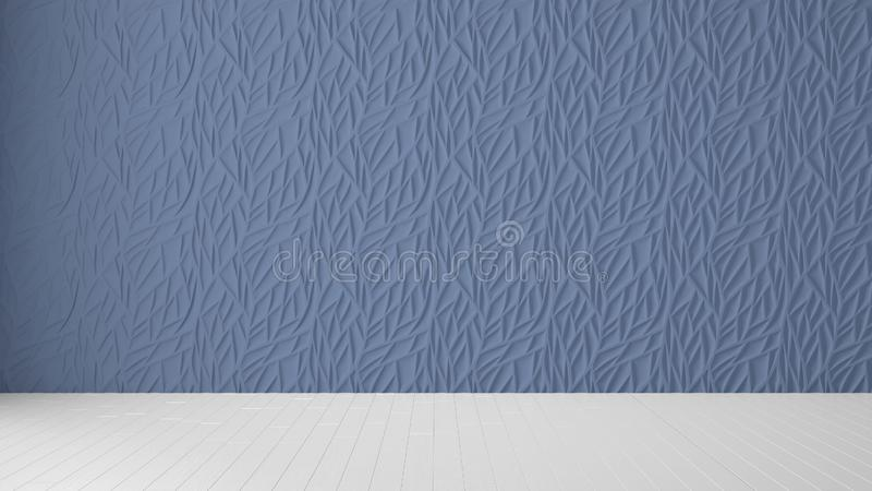 Design de interiores vazio da sala, painel azul e assoalho vazio de madeira, fundo moderno da arquitetura com espaço da cópia, mo foto de stock royalty free