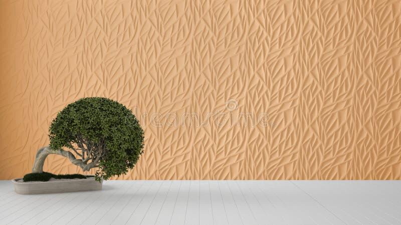 Design de interiores vazio da sala, painel moldado decorado laranja, assoalho branco de madeira e planta em pasta, fundo moderno  ilustração do vetor