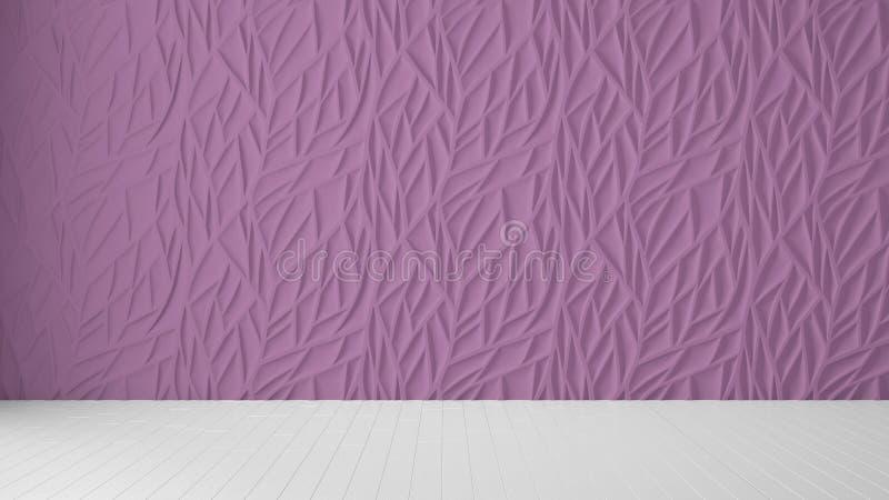Design de interiores vazio da sala, painel roxo e assoalho vazio de madeira, fundo moderno da arquitetura com espaço da cópia, mo imagens de stock