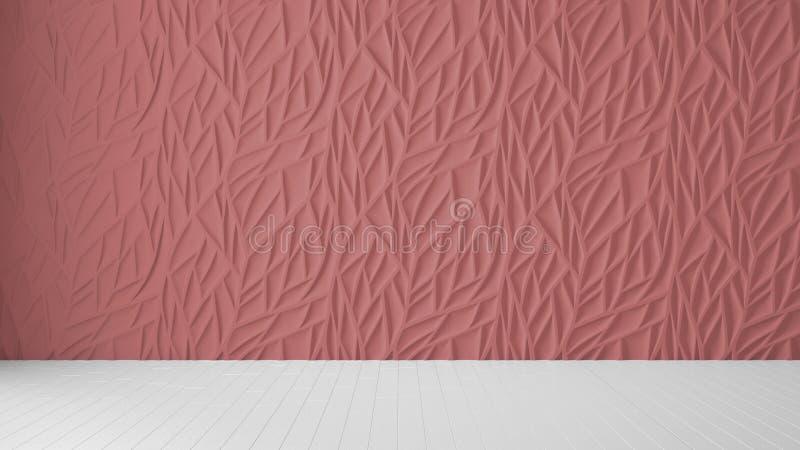 Design de interiores vazio da sala, painel vermelho e assoalho vazio de madeira, fundo moderno da arquitetura com espaço da cópia ilustração do vetor