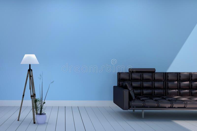 Design de interiores vazio da sala - sala tenha a lâmpada preta e as plantas do sofá, leves - fundo azul da parede rendi??o 3d ilustração royalty free