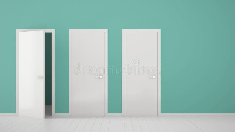 Design de interiores vazio da sala de turquesa com fechado e estares abertos com quadro, puxadores da porta, assoalho branco de m ilustração do vetor