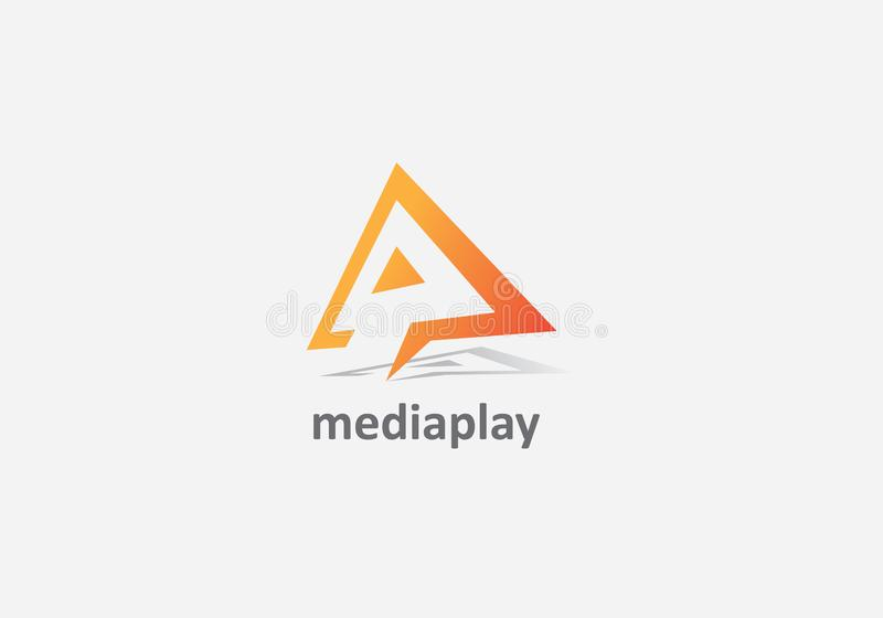 Design del logo per la riproduzione multimediale A illustrazione di stock