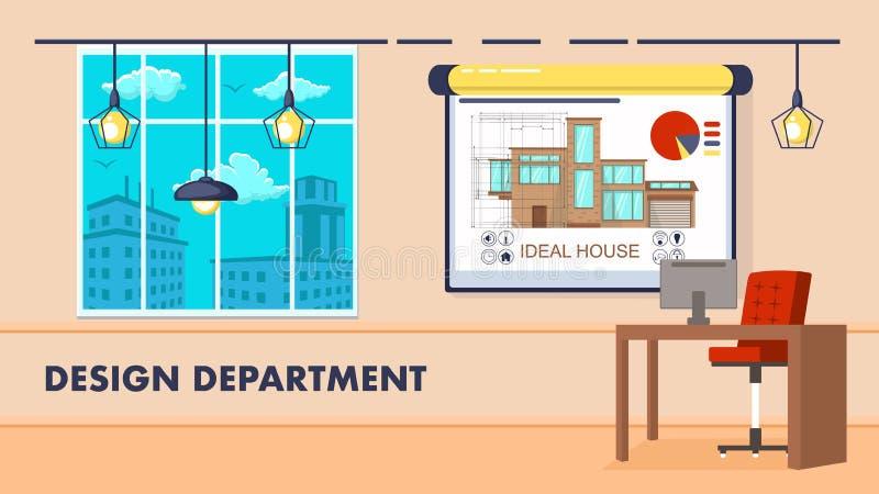 Design Department Interior Vector Illustration. Design Department Interior Design Flat Vector Illustration. Contemporary Workplace Decor,Cityscape View vector illustration