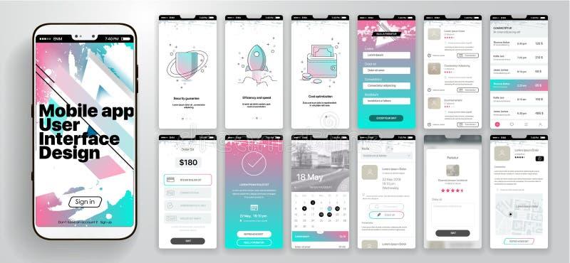 Design der beweglichen Anwendung, UI, UX Ein Satz GUI-Schirme mit LOGON- und Passwortinput, Homepage, News - Feed lizenzfreie abbildung