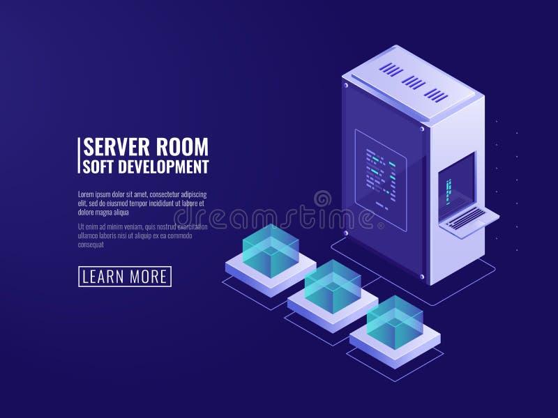 Design der Informationssystemikone, web server, Computerausrüstung, große Datenverarbeitung, Internet-Kunde, Netz stock abbildung