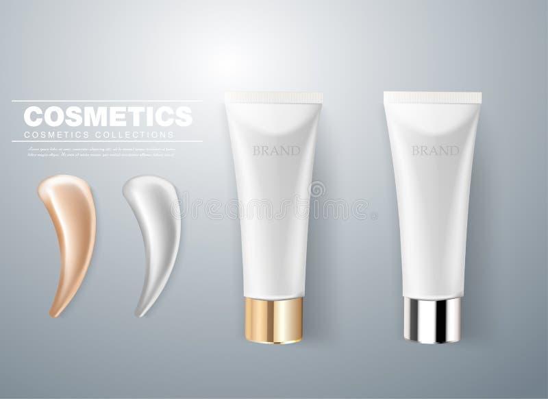 Design der kosmetischen Verpackung Graues Sahnerohr mit Abstrichanschlag 3D realistischer Vektor Illustratio stock abbildung
