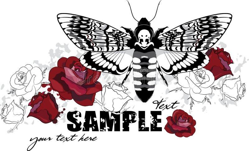 Design der roten Rosen mit Angussmotte stock abbildung