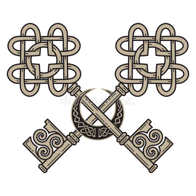 Design der Schlüssel in der keltischen Art Zeichen von Klugheit lizenzfreie abbildung