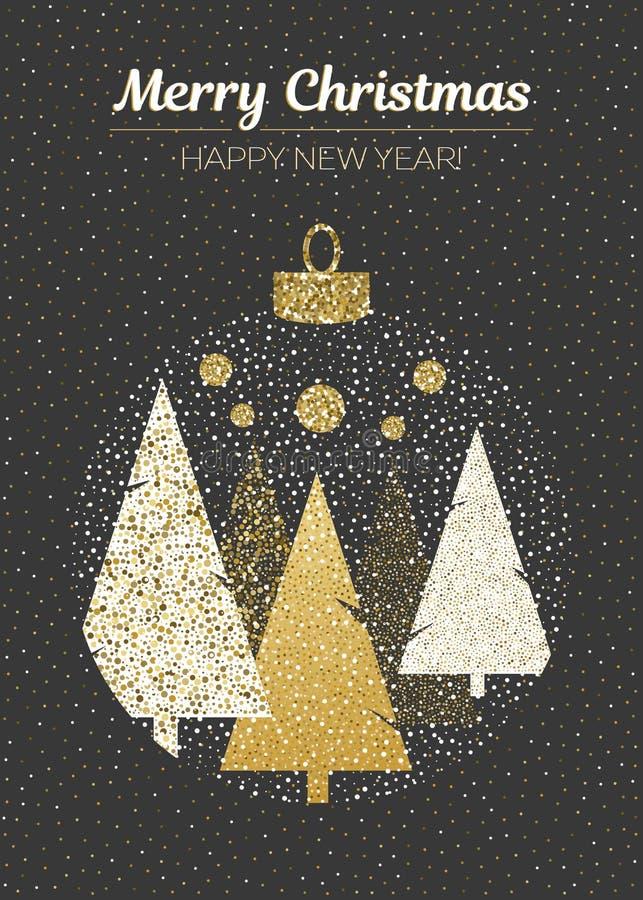 Design der Vektor-frohen Weihnachten und des guten Rutsch ins Neue Jahr Vertikale Karte mit Weihnachtsbäumen im Ball auf schwarze lizenzfreie abbildung