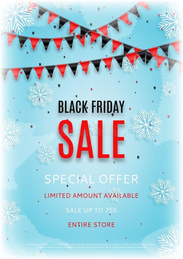 Design des Fliegers Black Friday-Verkaufs mit Schneevektorillustration stock abbildung