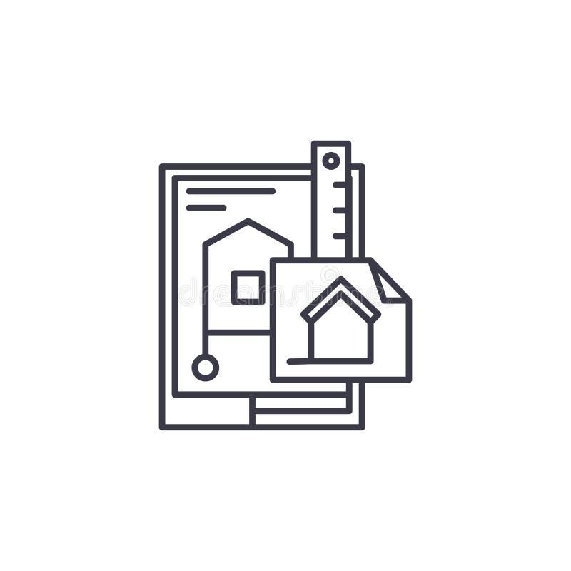 Design des linearen Ikonenkonzeptes des Gebäudes Design der Baulinie Vektorzeichen, Symbol, Illustration lizenzfreie abbildung