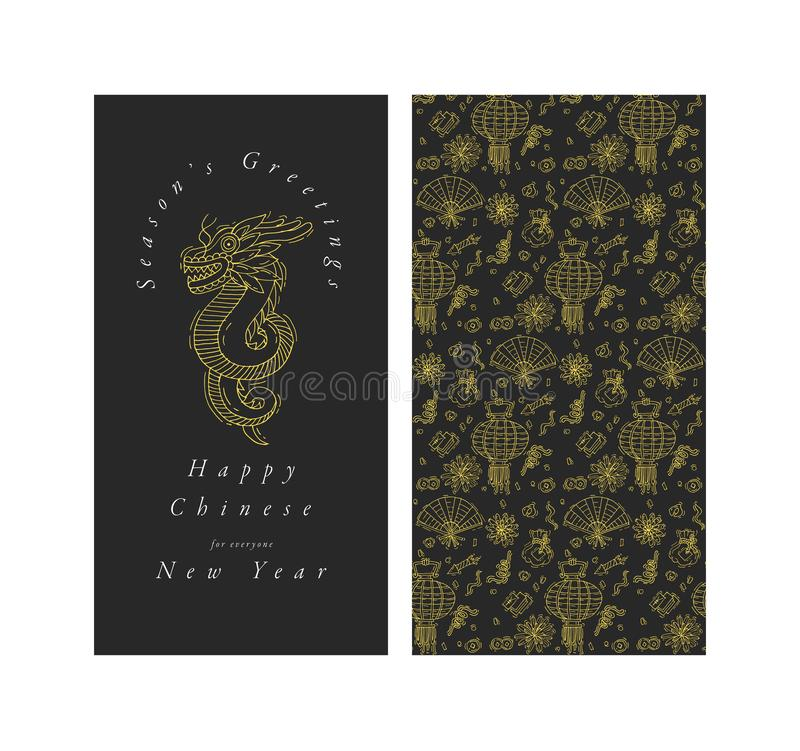 Design des Vektorhandabgehobenen betrages für der Grußkarte des Chinesischen Neujahrsfests goldene Farbe Typografie und Ikone für vektor abbildung