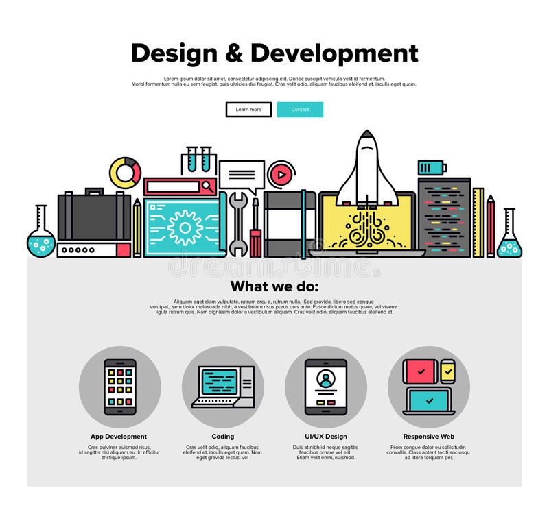 Design develop flat line web graphics royalty free illustration