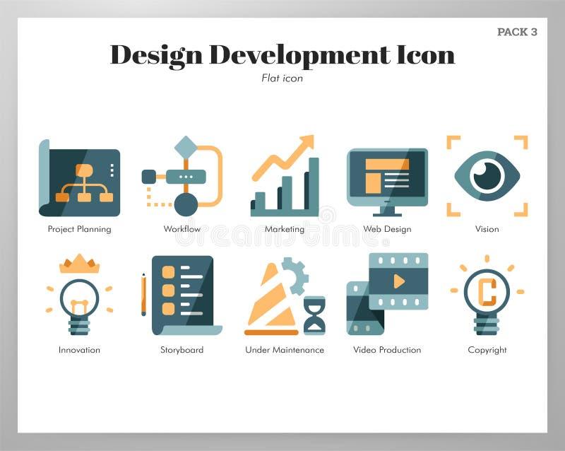 Design development icons flat pack stock illustration