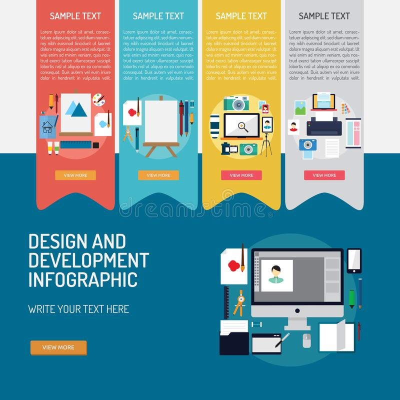Design and Development Infographic Complex royalty free illustration