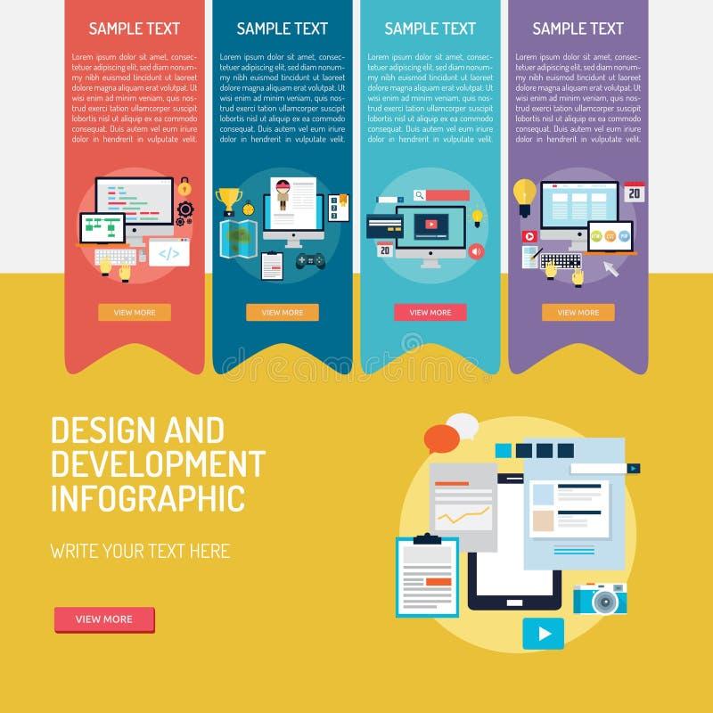 Design and Development Infographic Complex stock illustration