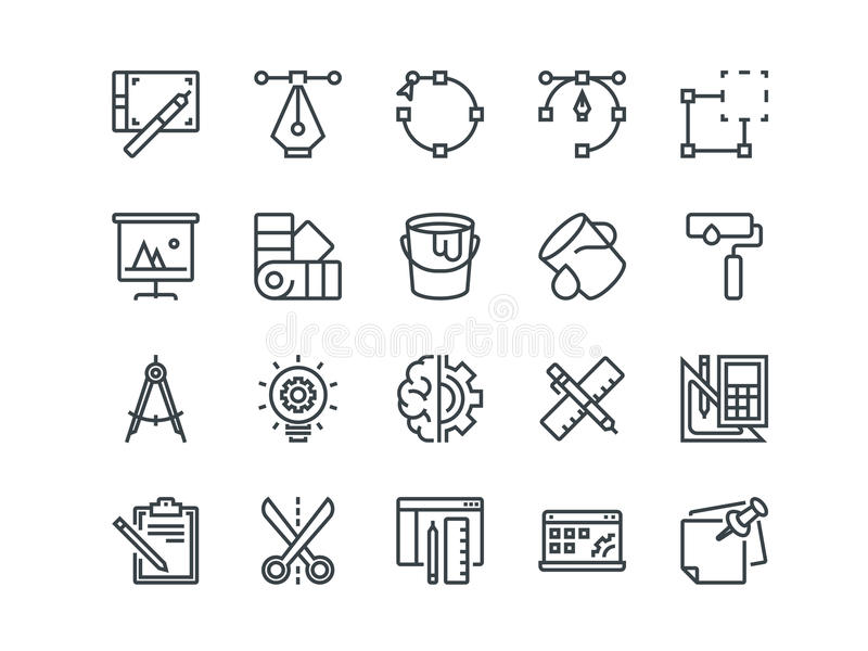 Design and Development. Set of outline vector icons. Includes such as Brainstorming, Retouching, Programming and other. Editable Stroke. 48x48 Pixel Perfect vector illustration
