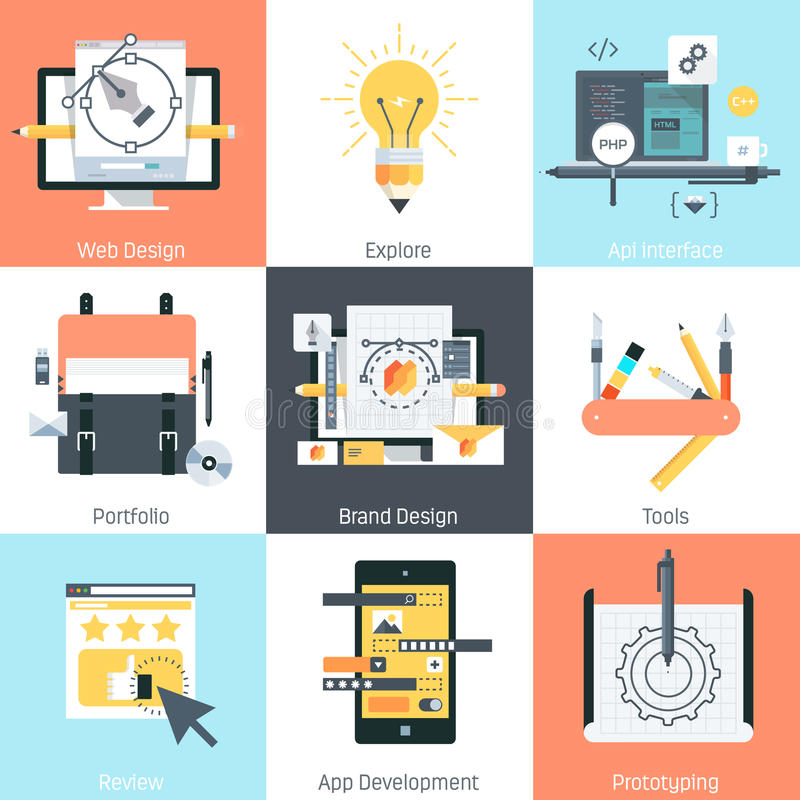 Design and development theme, flat style, colorful, icon royalty free illustration