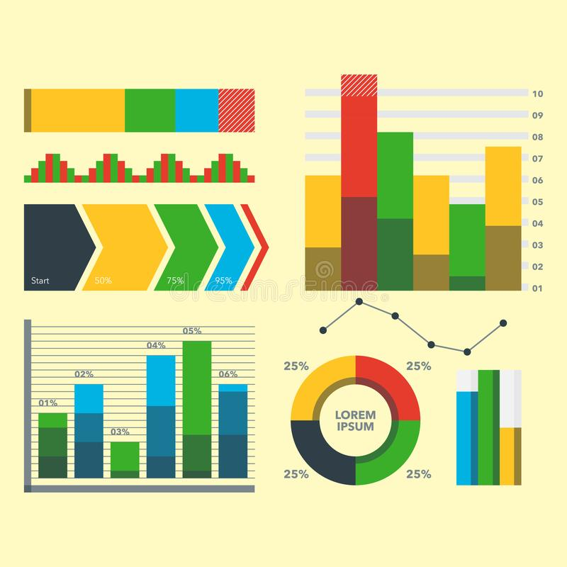 Design diagram chart elements vector illustration of business flow sheet graph infographics data template. Presentation information arrow progress diagrammatic stock illustration