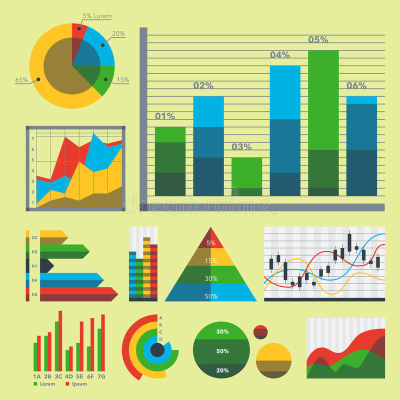 Design diagram chart elements vector illustration of business flow sheet graph infographics data template. Presentation information arrow progress diagrammatic royalty free illustration