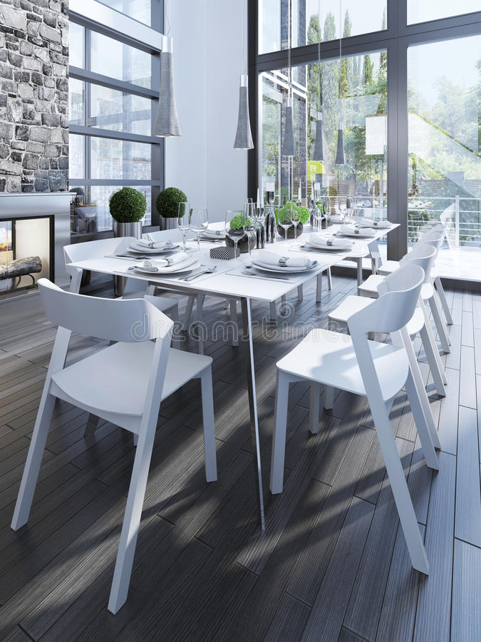Design of dining room with white furniture stock photo