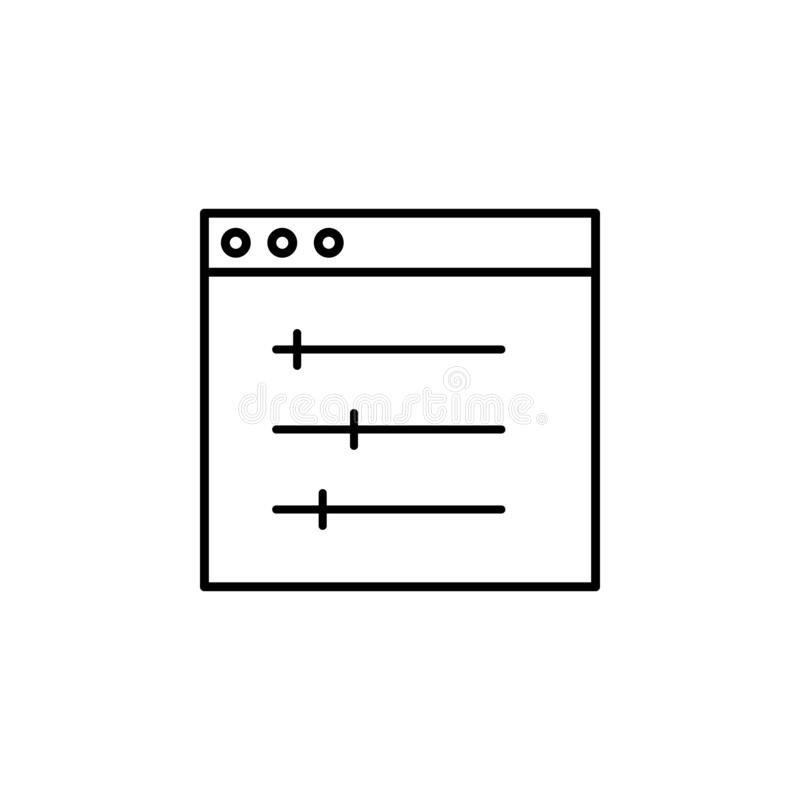 design, display, setting icon. Simple outline vector of Web Design Development  set icons for UI and UX, website or mobile royalty free illustration