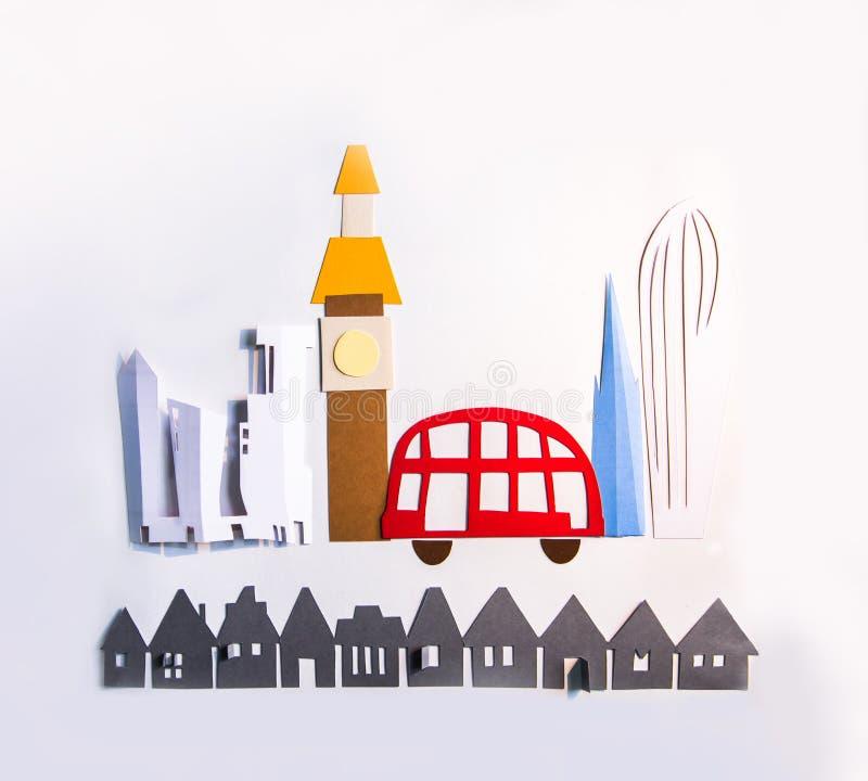 Design do corte de papel da vista da cidade Criatividade, educação, hobby, inovação e conceito de inspiração fotos de stock royalty free
