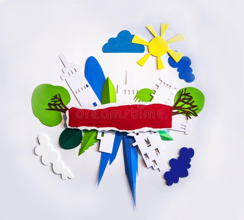 Design do corte de papel da vista da cidade Criatividade, educação, hobby, inovação e conceito de inspiração imagem de stock