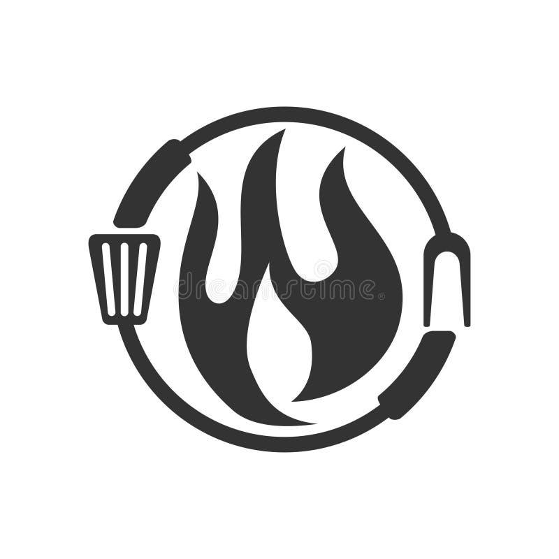 Design do distintivo de vetor de vetor do logotipo do Barbecue Fire Fork Spatula ilustração do vetor