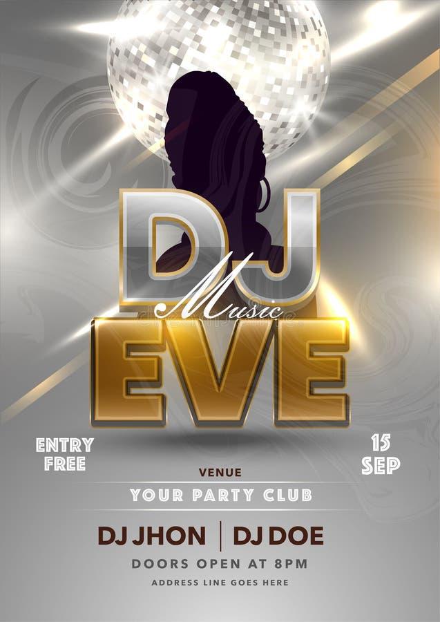 Design do folheto do Partido DJ Music EVE com Silhouette Female e Shiny Silver Disco Ball on Lights Effect Grey foto de stock