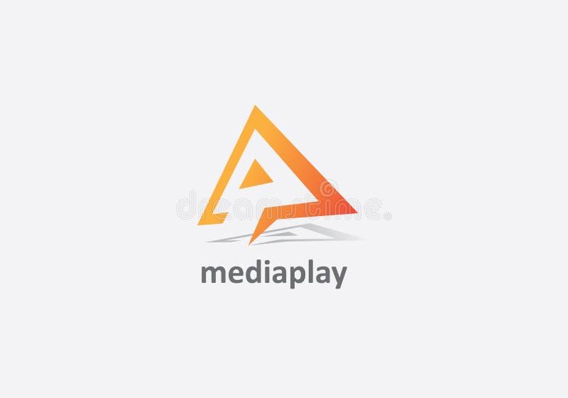 Design do logotipo Carta A Media Play ilustração stock