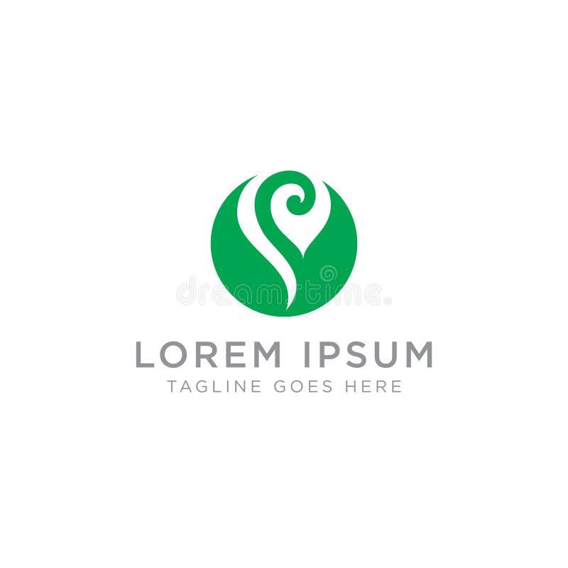 Design do logotipo com ícone Abstract Green Swirl ilustração stock