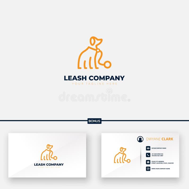 Design do logotipo da empresa Leash para silhueta abstrata de cães e cartão de visita gratuito ilustração stock
