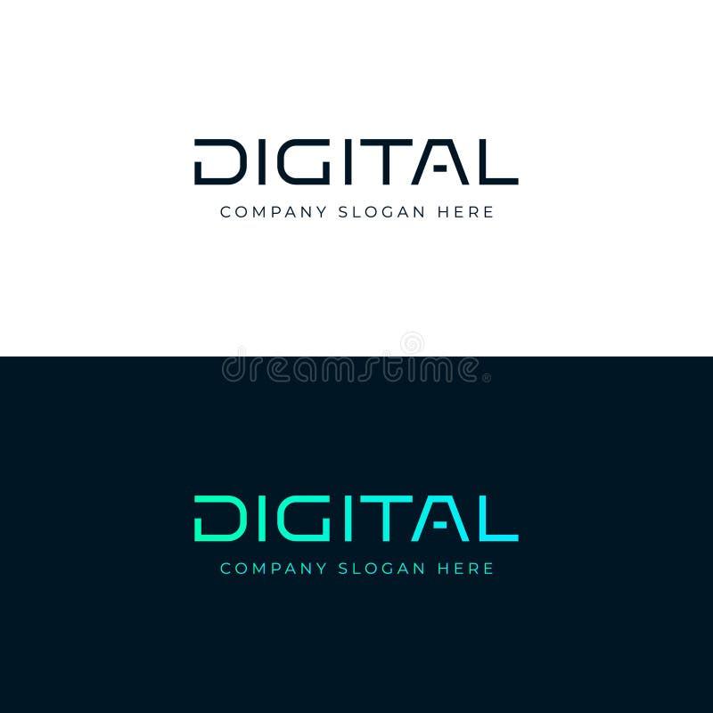 Design do logotipo digital Palavra de inscrição digital Vetor emblem imagens de stock royalty free