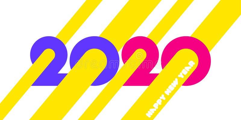 Design do logotipo Feliz Ano Novo 2020 com números geométricos coloridos e feixes abstratos amarelos sobre fundo branco ilustração royalty free