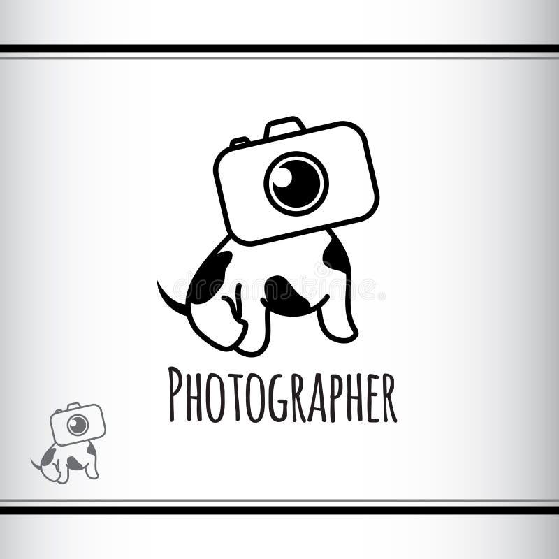 Design do logotipo vetorial para o estúdio de fotógrafos Cãozinho bonito com cabeça como câmera Preto e branco Cão com manchas Fo ilustração do vetor