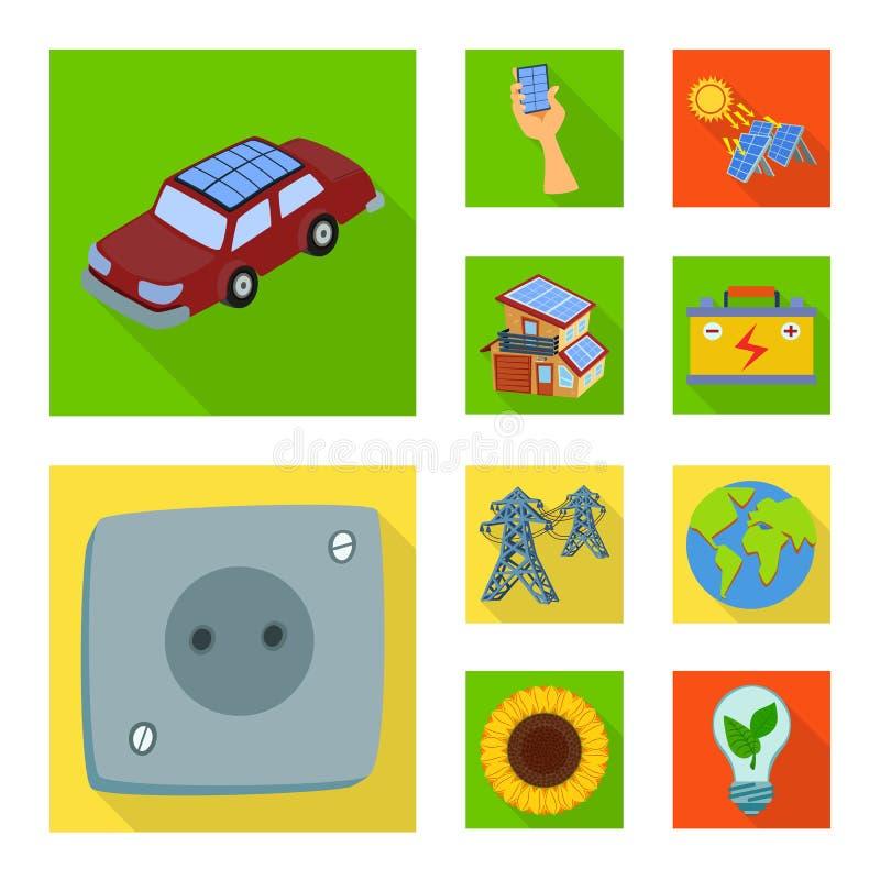Design do vetor do sinal solar e do painel Conjunto de ícone de vetor solar e verde para estoque ilustração stock
