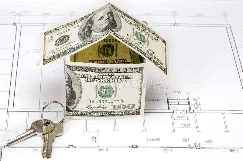 Design draft papers. Money house and key stock image