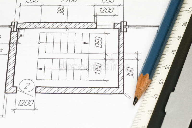 Design draft papers. Work place stock photos