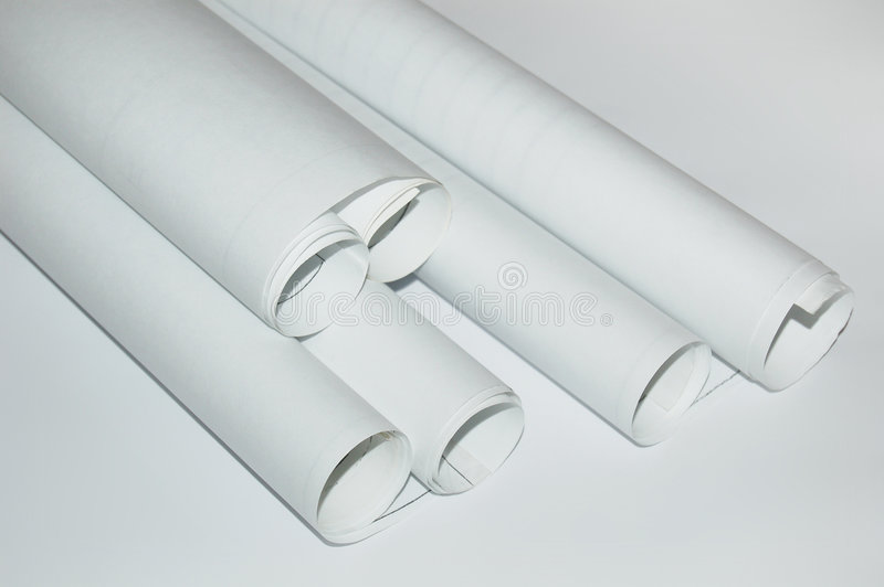 Design draft papers. And draft paper rolls stock images