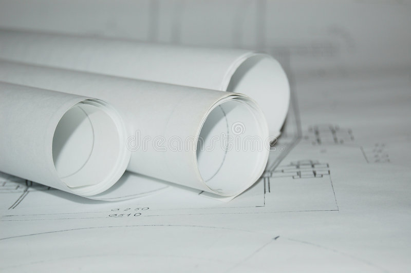 Design draft papers. And draft paper rolls royalty free stock photo