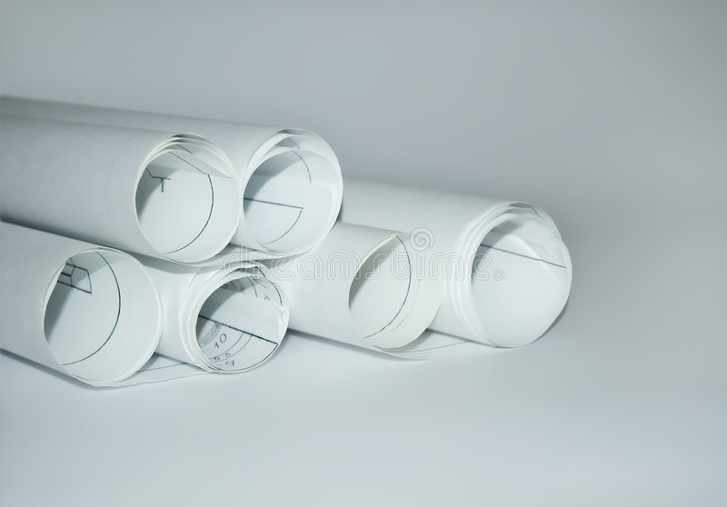 Design draft papers. And draft paper rolls stock photography