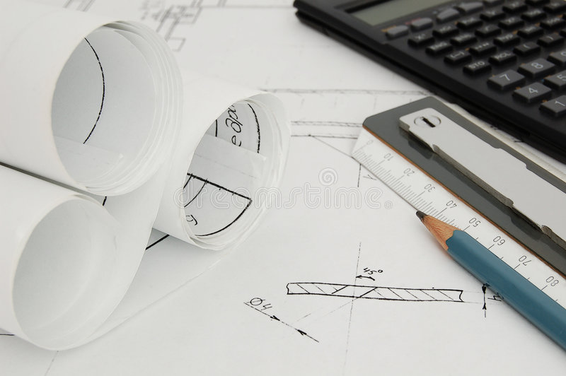 Design draft papers. Pencil, ruler and calculator stock photo