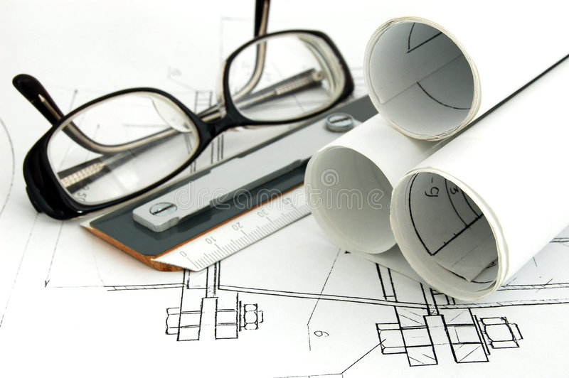 Design draft papers. Glasses and rule stock image