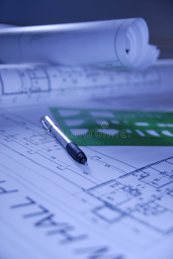 Free Design Draft Papers With Pen Stock Images - 1472414