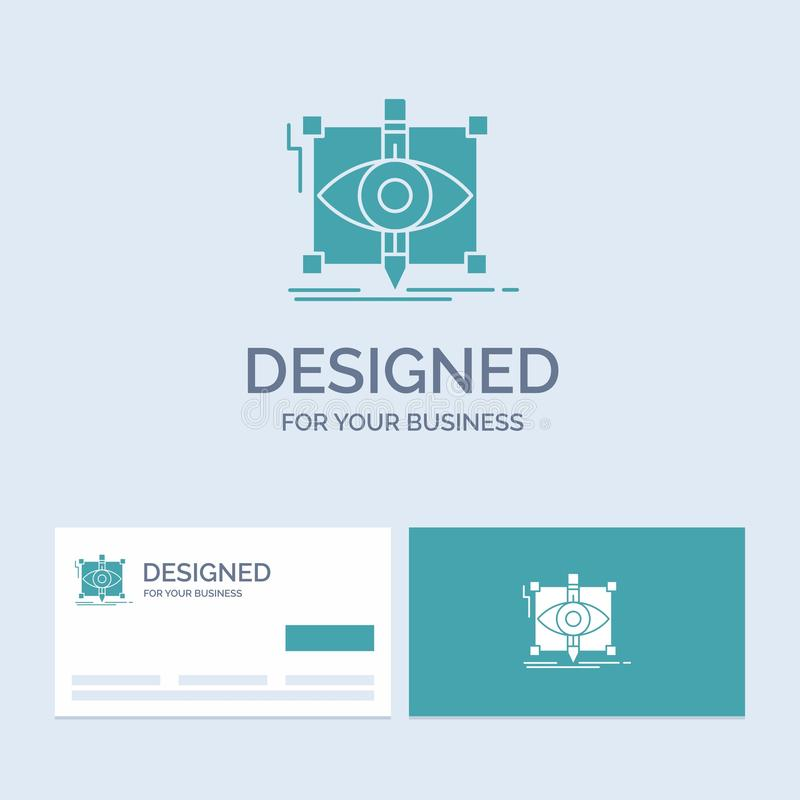 Design, draft, sketch, sketching, visual Business Logo Glyph Icon Symbol for your business. Turquoise Business Cards with Brand. Logo template.. Vector EPS10 stock illustration