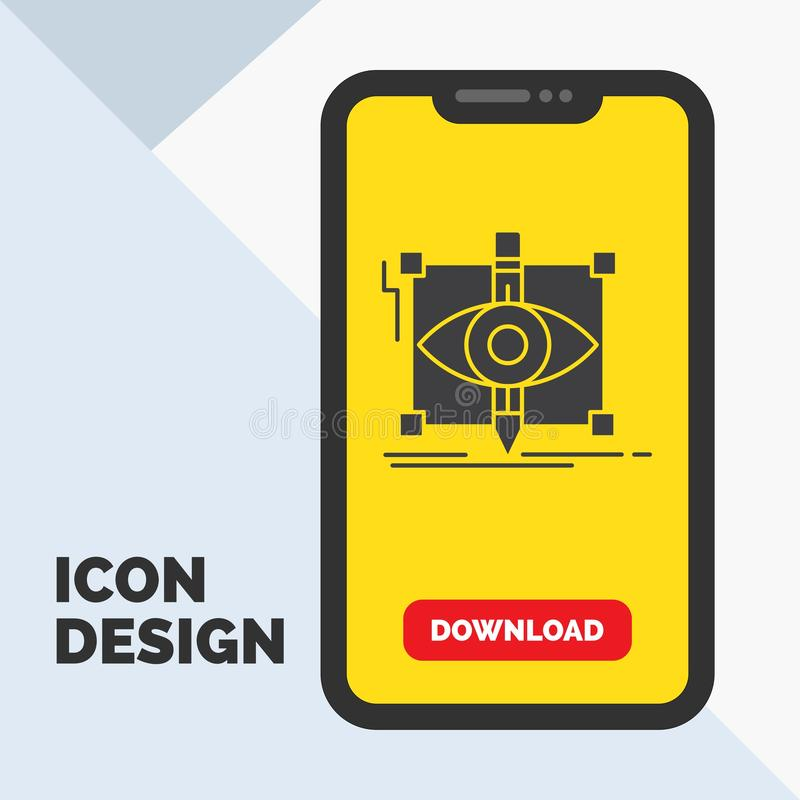 Design, draft, sketch, sketching, visual Glyph Icon in Mobile for Download Page. Yellow Background. Vector EPS10 Abstract Template background stock illustration