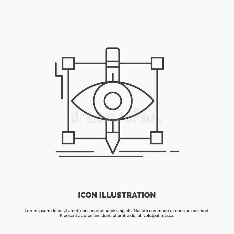 Design, draft, sketch, sketching, visual Icon. Line vector gray symbol for UI and UX, website or mobile application. Vector EPS10 Abstract Template background stock illustration