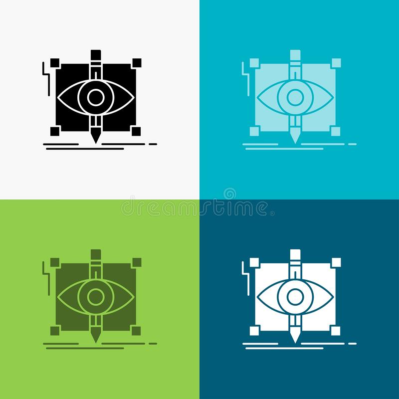 Design, draft, sketch, sketching, visual Icon Over Various Background. glyph style design, designed for web and app. Eps 10 vector. Illustration. Vector EPS10 stock illustration